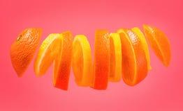 Laranjas do voo e fatias do limão no fundo cor-de-rosa Citrino cortado da laranja e do limão isolado no fundo cor-de-rosa Floa do Foto de Stock