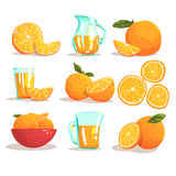 Laranjas e Juice Cool Style Bright Illustrations alaranjado Imagem de Stock Royalty Free