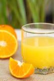 Laranjas e sumo de laranja frescos Fotos de Stock