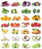 Laranjas isoladas coleção da banana de maçãs das frutas e legumes Foto de Stock
