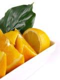 Laranjas, limão, folha Fotografia de Stock Royalty Free