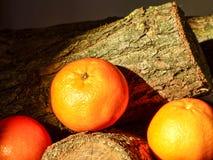 Laranjas orgânicas frescas em uma madeira Fotos de Stock