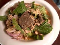 Larb猪肉沙拉 食物泰国传统 免版税库存图片