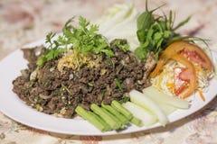 Larb, carne di maiale tritata piccante fritta Immagine Stock