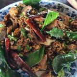 Larb, eend hakt met kruidige smaak, Thais voedsel fijn Royalty-vrije Stock Foto's