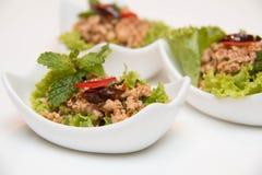 Larb Gai, kryddig höna, slut upp royaltyfria foton