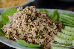 Larb Gai, spicy chicken. Close up stock photo