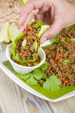 Larb - Lao Minced Beef Salad Stock Photo