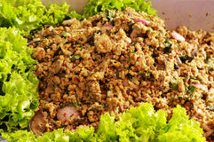 Larb pork of thai food. Favorite spicy food of thailand Royalty Free Stock Photos