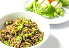 LARB--Salade épicée cuite de viande hachée Photographie stock libre de droits