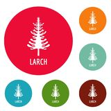 Larch tree icons circle set vector. Isolated on white background Royalty Free Stock Image