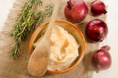Lard in a bowl with wooden spoon Stock Photography