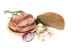 Lard and bread Stock Photography