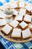 Lard with bread and a glass of vodka on a tray royalty free stock images