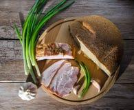 Lard and bread Stock Photos