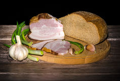 Lard and bread Royalty Free Stock Photography