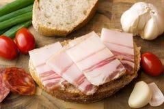 Lard on bread Stock Images