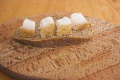 Lard on bread Stock Photo