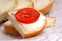 Lard on bread with tomato slice Stock Photo