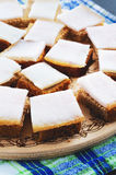 Lard with bread  on a tray. On a napkin Stock Photography