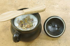 Lard  in clay pot Stock Image