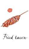 Lard frit avec la saucisse sur le bâton en bois illustration stock