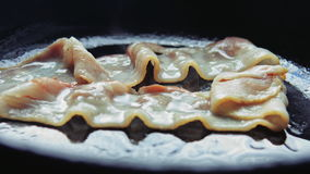 Lard frit par bandes frit dans une casserole banque de vidéos