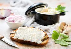 Lard with garlic. Hearty lard with garlic served with fresh bread on a rustic white table stock photography