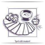 Lard With Mustard Black Stock Photo