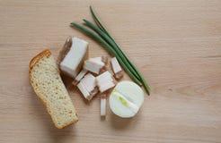 Lard, oignon, pain Photo libre de droits