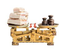 Lard on old scales Royalty Free Stock Photography
