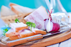 Lard and onion Royalty Free Stock Image