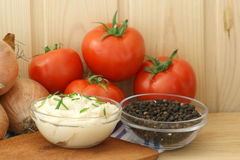 lard and organic pepper in a bowl Royalty Free Stock Photos