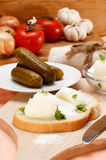 Lard with parsley on home baked bread Royalty Free Stock Photos