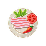 Lard, Pepper and Tomato Served Food. Vector Royalty Free Stock Photography