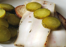 Lard and pickled cucumbers Royalty Free Stock Photo