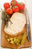 Lard on a slice of bread Royalty Free Stock Images