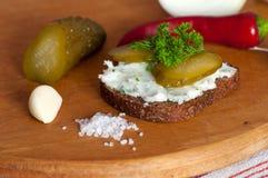 Lard spread on rye bread close up Stock Image