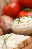 Lard on toast with organic dill Stock Images