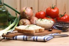 lard on toast with organic dill Stock Photo