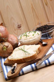 lard on toast with organic dill Royalty Free Stock Photography