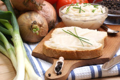 lard on toast with organic dill Royalty Free Stock Photos