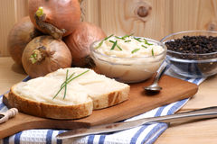 lard on toast with organic dill Royalty Free Stock Image