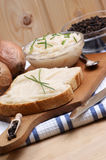 lard on toast with organic dill Royalty Free Stock Images
