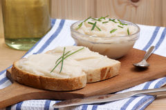 lard on toast with organic dill Royalty Free Stock Photo