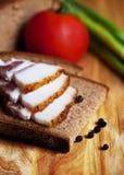 Lard on toast with tomato Stock Image