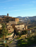 Larderello. Panoramic view of Larderello with geothermal power plant background (Tuscany, Italy Royalty Free Stock Photo