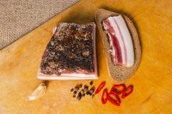 Lardo e pane salati Immagine Stock
