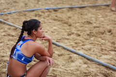 LAREDO, SPAIN - JULY 30: Juliana Xavier Andrade de Oliveira, BMP Algeciras player watch the game on the sideline, waiting her turn. To play in the Spain Stock Images