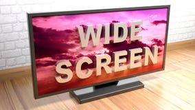 Large écran de télévision - rendu 3D Photographie stock
